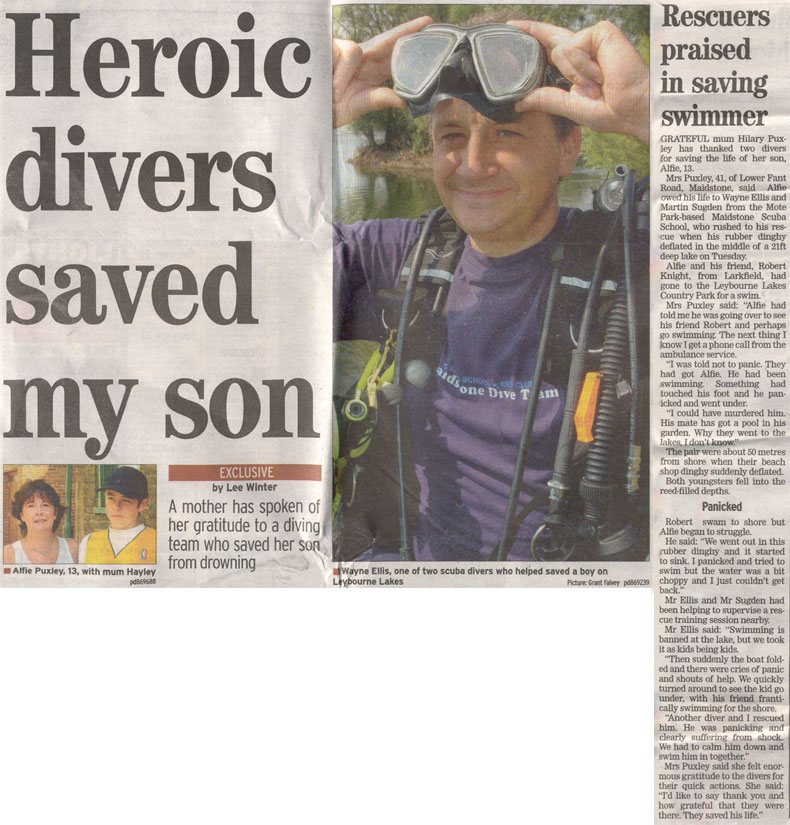 News Paper Article - Diver saves life
